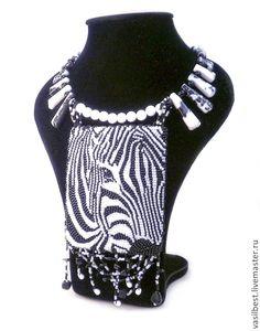 Купить Колье Зебра - чёрно-белый, зебра, африка, васильева, бисер, вышивка