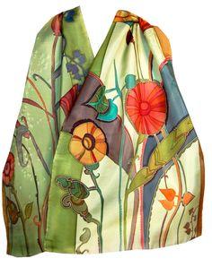 Bufanda de seda pintado a mano Floral Rhapsody en la primavera de la hierba verde.  Pintura original de la Seda.  Spring Fashion.  Regalos para ella.  Los tintes de seda franceses.