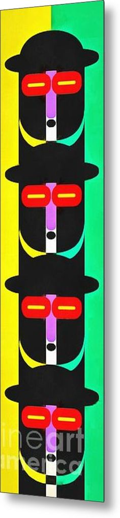 Pop Art People Totem 8 Metal Print By Edward Fielding