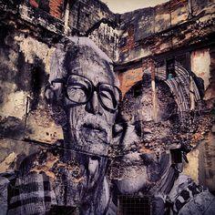 graffiti by JR and José Parla 3d Street Art, Street Mural, Urban Street Art, Amazing Street Art, Street Art Graffiti, Street Artists, Amazing Art, Melbourne Street, Urbane Kunst