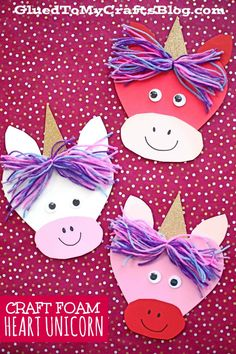 Craft Foam Heart Shaped Unicorn Friends - Valentine's Day Kid Craft Idea - - It's simply MAGICAL! We have combined some of our favorite craft materials into a Craft Foam Heart Unicorn! Perfect for Valentine's Day! Preschool Valentine Crafts, Valentine's Day Crafts For Kids, Valentines Day Activities, Friends Valentines Day, Valentines For Kids, Homemade Valentines, Foam Crafts, Craft Foam, Canvas Crafts