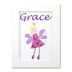 Girls Fairy Door Name Print - Framed by Clarkie Designs