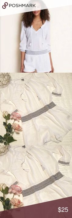 NWT Aerie Quarter Sleeves Cover Up Romper Adorable Aerie White Quarter Sleeves Romper. NWT. Size S/P. Can wear off the shoulders. aerie Pants Jumpsuits & Rompers