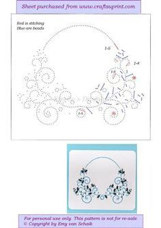 ED121 Floral on Craftsuprint designed by Emy van Schaik - Stitching with beads - Now available for download!