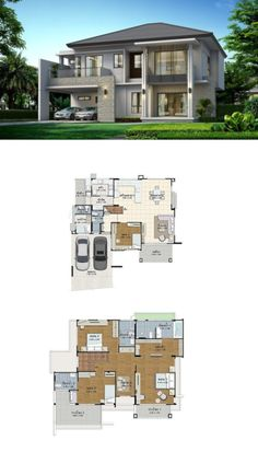 Land and houses modern house plans, modern house design, house plans, villa House Plans Mansion, Dream House Plans, House Floor Plans, Contemporary House Plans, Modern House Plans, Small House Plans, Bungalow House Design, Modern House Design, Villa Design
