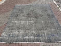 """Turkish Grey over Dyed Carpet Rug Wool And Cotton 95.5 x 131"""" inches"""
