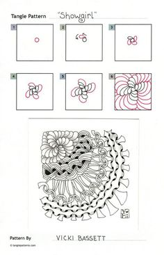 Showgirl~Zentangle doodles how to Tangle: Pattern Tutorial #Tutorial #zentangle #tangle Zentangle Steps | ZenTangle Instructions /Steps /How To /Patterns / Tags: tangle zentangle zendoodle tanglepattern zentangleinspiredart