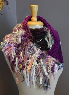 Art Knit Infinity Scarf - Peacock Knit Infinity Series 'Dusty Rose' - Dumpster Diva Fringed 'round' Scarf in pastels, white, purple, rose on Etsy, $45.00