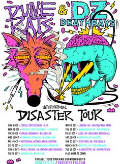 DZ Deathrays & Dune Rats U.S. tour 2016 Tour Posters, Band Posters, Rat Band, Punk Poster, New Flyer, Bedroom Wall Collage, Illustrations And Posters, Grafik Design, Concert Posters