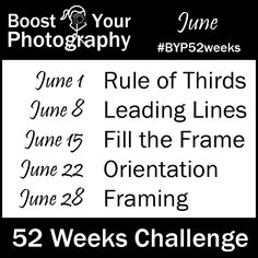 #BYP52weeks: Join the 52 Weeks Challenge on Boost Your Photography Has lots of links to articles great for beginners as well.
