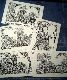 B/w postcards by Cyndee for the #diypostcardswap 2012!