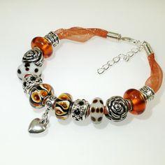 European Charm Bracelet Handmade Amber Brown by BekisBeads on Etsy