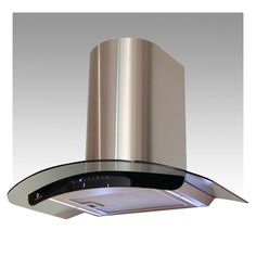 Black Glass 'Truly Curved' Stainless Steel Cooker Hood - H76