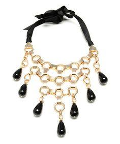 Look at this #zulilyfind! Gold & Black Louise Bib Necklace by Amrita Singh #zulilyfinds