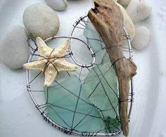 Aqua Seaglass Driftwood and Starfish Heart by jetsamdesigns, $27.00