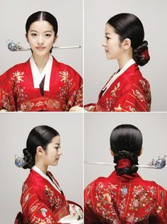 "Korean traditional Wedding Hairdo - This features flamboyant adornments with a simple chignon beneath. It matches the traditional wedding garment or ""hwarot,"" a magnificent wedding gown in crimson silk with wide sleeves. Traditional Hairstyle, Korean Traditional Dress, Traditional Fashion, Traditional Wedding, Traditional Dresses, Korean Hanbok, Korean Dress, Korean Outfits, Korean Men Hairstyle"