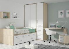 Kids Touch 18 Habitación juvenil Juvenil Camas Compactas y Nidos Cama compacta con cajones, con escritorio, estanterías y armario.