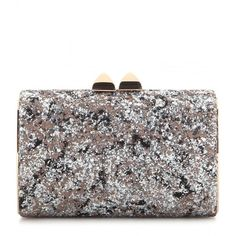 Jimmy Choo Mini Charm Glitter Clutch (1 025 AUD) ❤ liked on Polyvore featuring bags, handbags, clutches, silver, jimmy choo clutches, jimmy choo, glitter purse, silver clutches and silver glitter handbag
