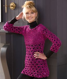 Glitz and Glamour Tunic Free Crochet Pattern in Red Heart Yarns