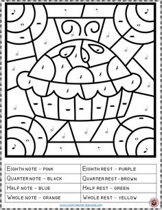 THANKSGIVING MUSIC ACTIVITIES: COLOR by MUSIC NOTES and RESTS. Excellent for your Thanksgiving Music Lesson #musiceducation