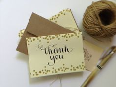 Gold Confetti Thank You Card  Set of 10 by GilesCountryDesigns, $15.00