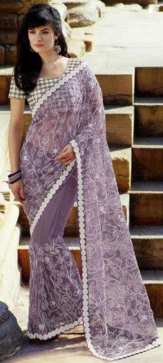 $100.21 Purple Thread Work Net Party Wear Saree 24124