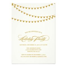 CLASSY STRING LIGHTS | HOLIDAY PARTY INVITATION   Click on photo to purchase. Check out all current coupon offers and save! http://www.zazzle.com/coupons?rf=238785193994622463&tc=pin