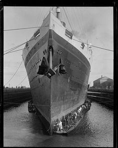 White Star Line MAJESTIC at Boston, 1920s