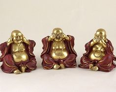 hear no evil, see no evil, speak no evil Buda Zen, Buddha Figures, Buddha Decor, Wise Monkeys, Meditation Space, India Jewelry, Chinoiserie, Pop Art, Sculptures