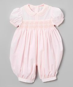 This Petit Ami Pink Smocked Bubble Romper - Infant by Petit Ami is perfect! #zulilyfinds