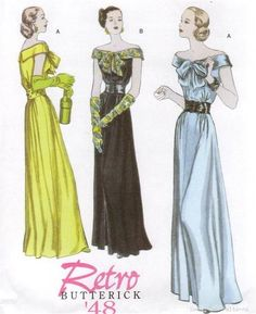 Butterick 5137 SEWING PATTERN Vintage Evening Gown 40s Retro Dress 8-14 | eBay