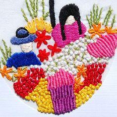 Flower Vendor hand embroidered fair trade card
