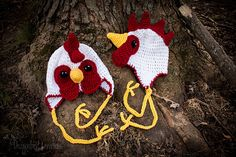 Chicken Rooster Hats!  Fun crocheted hats