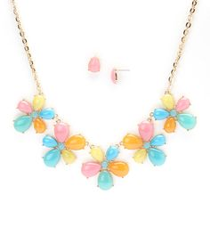 Love this Pink & Blue Groovy Flower Bib Necklace & Earring Set by Fantasy World Jewelry on #zulily! #zulilyfinds