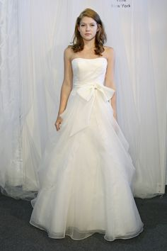 TULLE New York gown Carolina. minus the bow Peplum Wedding Dress, One Shoulder Wedding Dress, Wedding Dresses, Wedding Things, Dream Wedding, Satin Gown, Dress Designs, Frocks, Getting Married