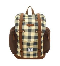 Rucksack F|23 Check ocker/braun #F23 #Friedrich23 #Star #Palm #Check #Holiday