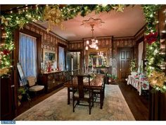 Victorian dining room decorated for Christmas. Mansion built by Governor Biggs (Delaware's Governor as well as House Rep from 1869-1873) in 1877 and was spared no expense. Truly built to stand the test of time, this home was constructed with heartwood, not sapwood like today's homes. In addition, this mansion was ...