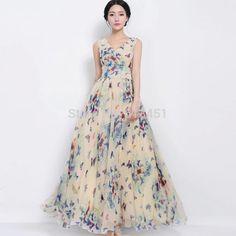 6e3a298e8ed 2015 Summer final-selling ladies  Chiffon Dress Women s Bohemian Sleeveless  V-neck Full