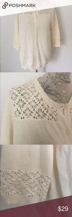 🆕 Isaac Mizrahi Live Cream Sweater XL Beautiful button sweater with crochet trim at top and bottom sleeve. Isaac Mizrahi Sweaters Cardigans