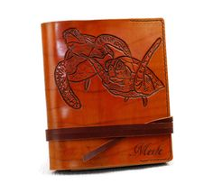 """Turtle Leather Journal 7""""x9"""" Personalized Journal Notebook Diary Custom Journal TiVergy Book Gift for Him Gift for Her Journal by TiVergy on Etsy"""