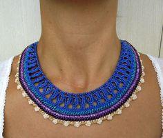 Crochet Necklace Crochet Jewelry Freeform por SvetlanaCrochet