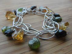 "multi stone bracelet : grade ""A"" citrine, vesuvianite, tourmaline. Silver chain.  handmade jewelry"