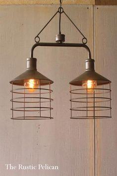 Modern-Farmhouse-pendant-light-Industrial-Chandelier-Free-Shipping - The Rustic Pelican Modern Farmhouse Lighting, Farmhouse Pendant Lighting, Diy Pendant Light, Industrial Pendant Lights, Pendant Light Fixtures, Modern Lighting, Lighting Design, Lighting Ideas, Mini Pendant