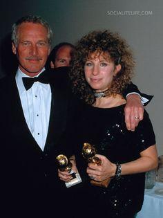 Paul Newman and Barbra Streisand at the 1983 Golden Globe Awards.