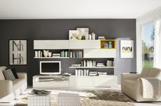 Modern Living Room Wall Units With Storage Inspiration Living Room Wall Units, Bookshelves In Living Room, Living Room Grey, Living Room Modern, Living Room Interior, Home Living Room, Living Room Furniture, Living Room Designs, Living Room Decor