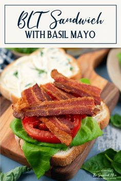 The classic BLT Sandwich is about as simple as it gets! Don't let the summer pass you by without indulging in this delicious lunch or easy dinner recipe. Layers of toasted white bread, thick-cut bacon, crisp lettuce, sweet tomatoes, and a quick basil mayonnaise come together in the most magical way! Serve the best BLT sandwich recipe with a side of potato chips and some sliced pickles for a simple, flavorful meal. Easy Sandwich Recipes, Lunch Recipes, Easy Dinner Recipes, Sandwich Ideas, Yummy Recipes, Easy Weeknight Dinners, Easy Meals, Food Test