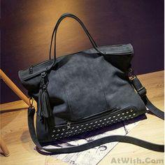 Retro Leather Rivets Shoulderbag Messenger Bag Handbag Motorcycle Bag