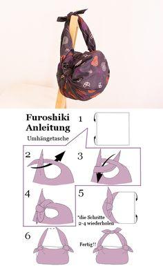 Furoshiki Anleitung - Umhängetasche #Furoshiki
