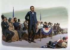 Read President Abraham Lincoln's Gettysburg Address: A painting of President Abraham Lincoln at the dedication of the Soldiers' National Cemetery in Gettysburg, Pennsylvania, on November 19, 1863
