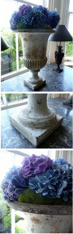 Painted Medici cast iron urn with original patina #diy #crackedpatina #amyhowardathome